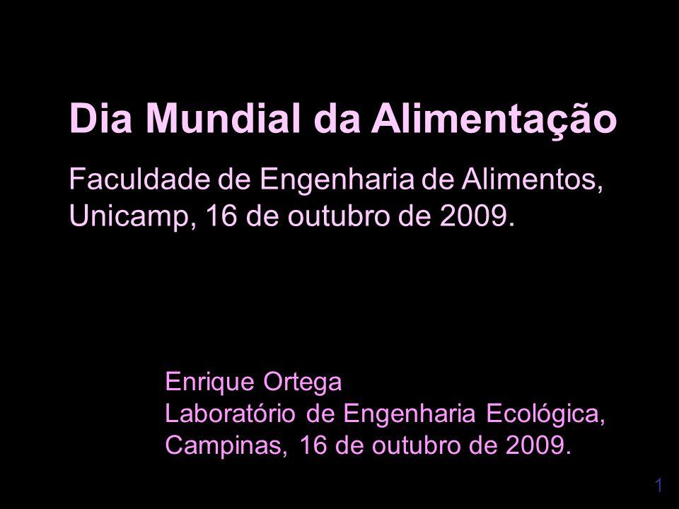1 Dia Mundial da Alimentação Faculdade de Engenharia de Alimentos, Unicamp, 16 de outubro de 2009. Enrique Ortega Laboratório de Engenharia Ecológica,