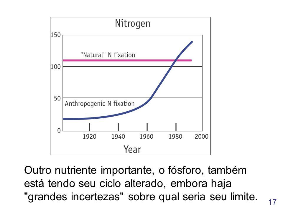 17 Outro nutriente importante, o fósforo, também está tendo seu ciclo alterado, embora haja grandes incertezas sobre qual seria seu limite.