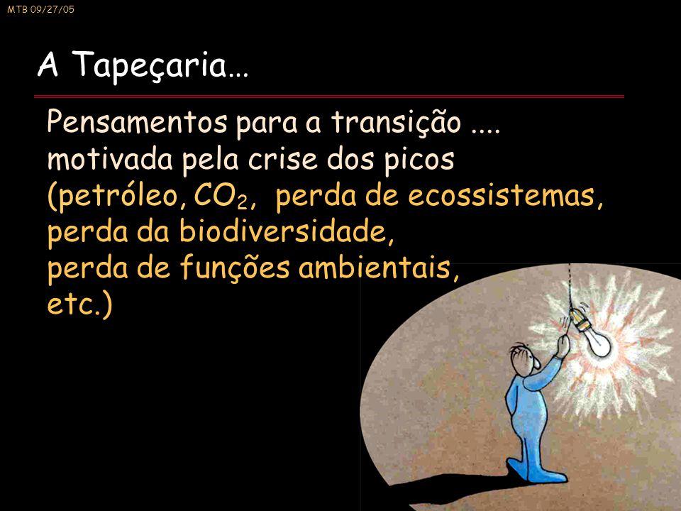MTB 09/27/05 A Tapeçaria… Pensamentos para a transição.... motivada pela crise dos picos (petróleo, CO 2, perda de ecossistemas, perda da biodiversida