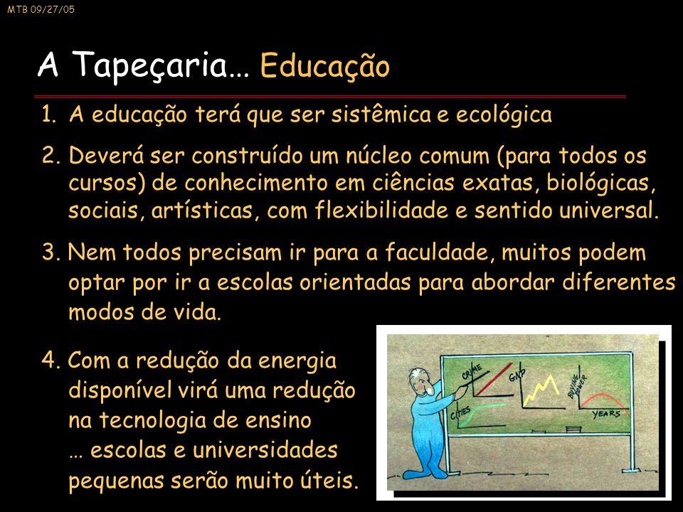 MTB 09/27/05 A Tapeçaria… Educação 1.A educação terá que ser sistêmica e ecológica 2.Deverá ser construído um núcleo comum (para todos os cursos) de conhecimento em ciências exatas, biológicas, sociais, artísticas, com flexibilidade e sentido universal.