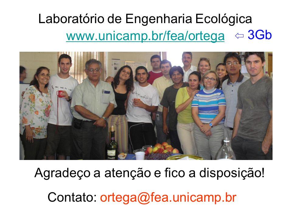 Agradeço a atenção e fico a disposição! Contato: ortega@fea.unicamp.br Laboratório de Engenharia Ecológica www.unicamp.br/fea/ortega ⇦ 3Gb