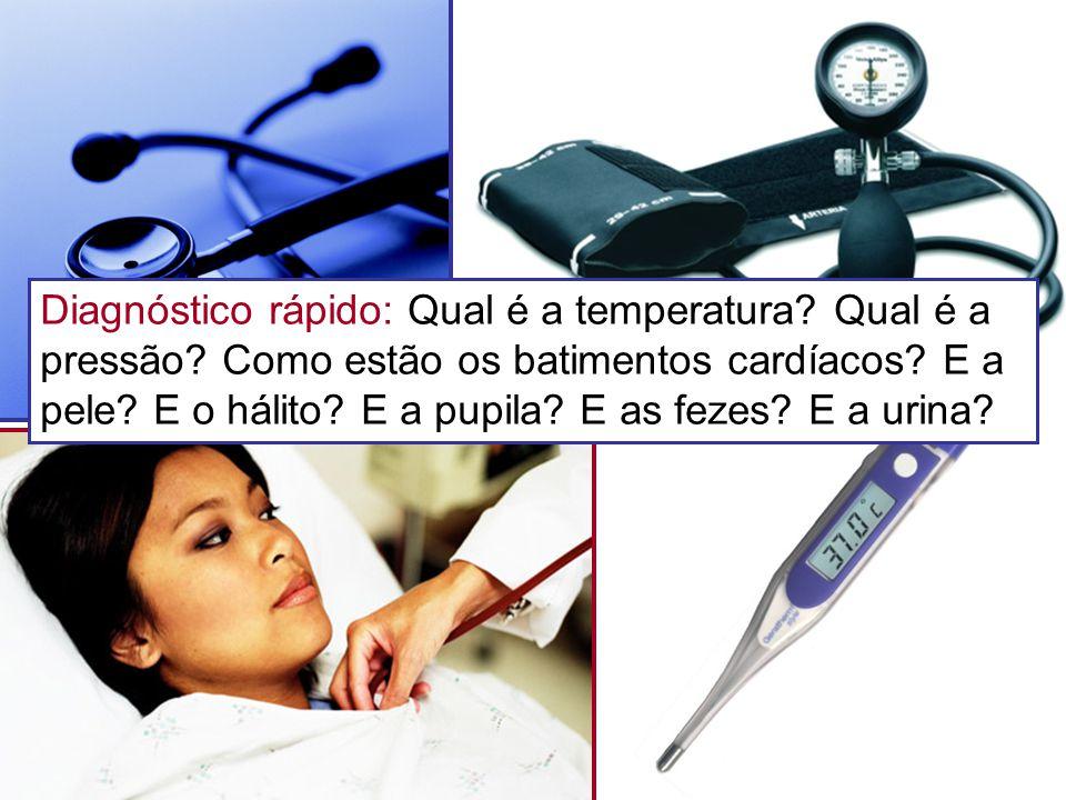 Diagnóstico rápido: Qual é a temperatura? Qual é a pressão? Como estão os batimentos cardíacos? E a pele? E o hálito? E a pupila? E as fezes? E a urin