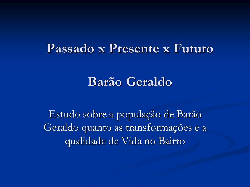 Passado x Presente x Futuro Barão Geraldo Estudo sobre a população de Barão Geraldo quanto as transformações e a qualidade de Vida no Bairro