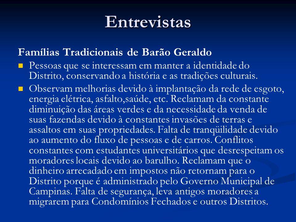 Entrevistas Famílias Tradicionais de Barão Geraldo Pessoas que se interessam em manter a identidade do Distrito, conservando a história e as tradições culturais.