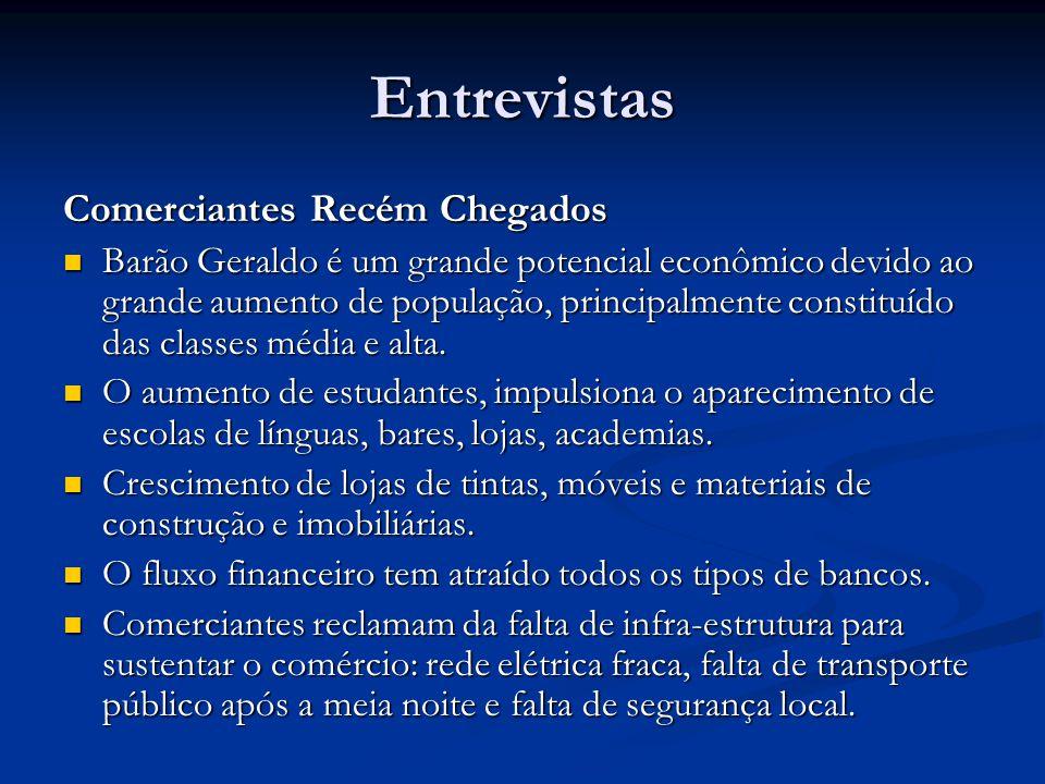 Entrevistas Comerciantes Recém Chegados Barão Geraldo é um grande potencial econômico devido ao grande aumento de população, principalmente constituído das classes média e alta.