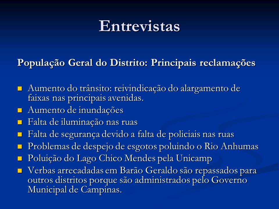 População Geral do Distrito: Principais reclamações Aumento do trânsito: reivindicação do alargamento de faixas nas principais avenidas.