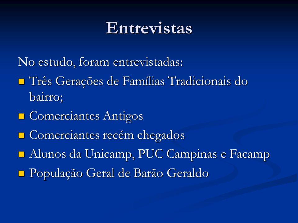 Avaliação Foram avaliados no estudo: Foram avaliados no estudo: As transformações do Bairro ao longo dos anos, desde o estabelecimento de famílias imigrantes nos primeiros 20 anos do Século XX até o ano 2005.
