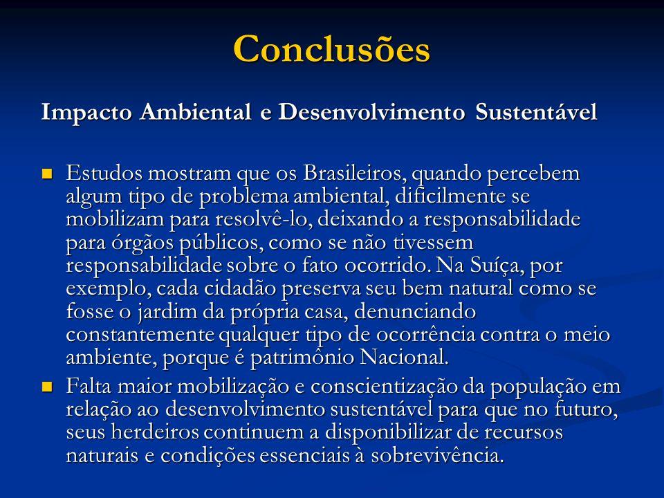 Impacto Ambiental e Desenvolvimento Sustentável Estudos mostram que os Brasileiros, quando percebem algum tipo de problema ambiental, dificilmente se mobilizam para resolvê-lo, deixando a responsabilidade para órgãos públicos, como se não tivessem responsabilidade sobre o fato ocorrido.