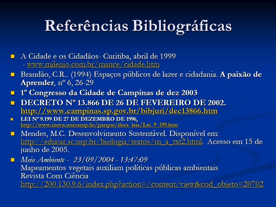 Referências Bibliográficas A Cidade e os Cidadãos- Curitiba, abril de 1999 - www.milenio.com.br/mance/cidade.htm A Cidade e os Cidadãos- Curitiba, abril de 1999 - www.milenio.com.br/mance/cidade.htmwww.milenio.com.br/mance/cidade.htm Brandão, C.R..