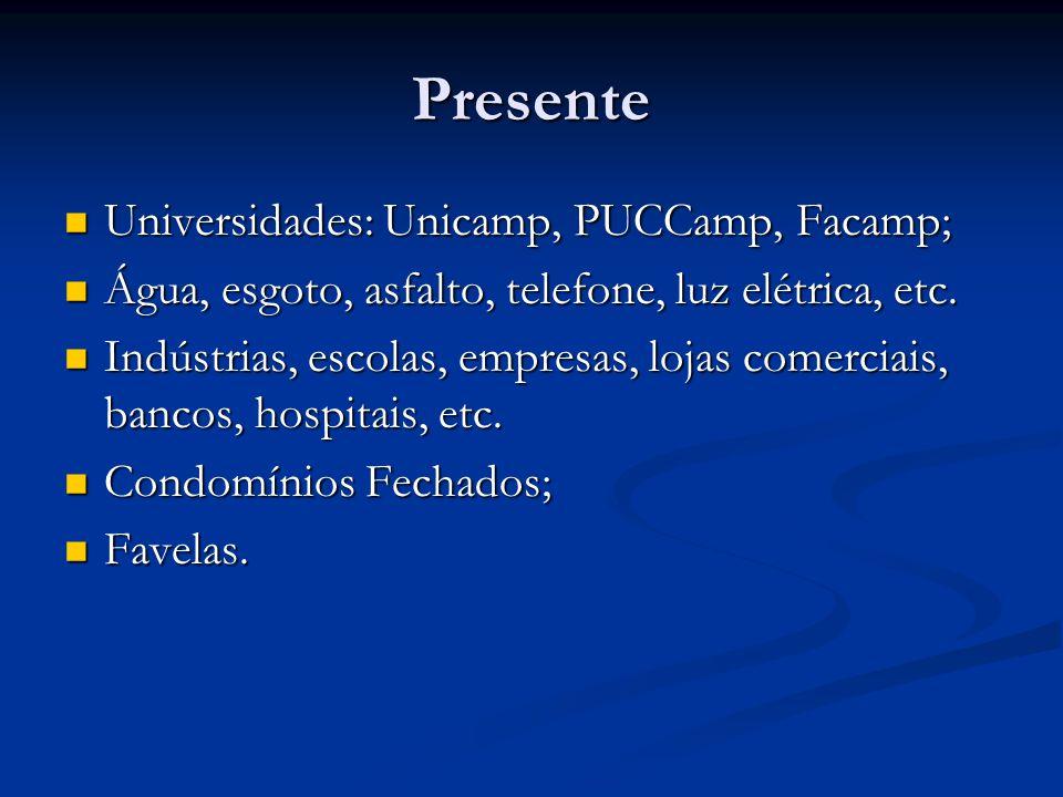 Presente Universidades: Unicamp, PUCCamp, Facamp; Universidades: Unicamp, PUCCamp, Facamp; Água, esgoto, asfalto, telefone, luz elétrica, etc.