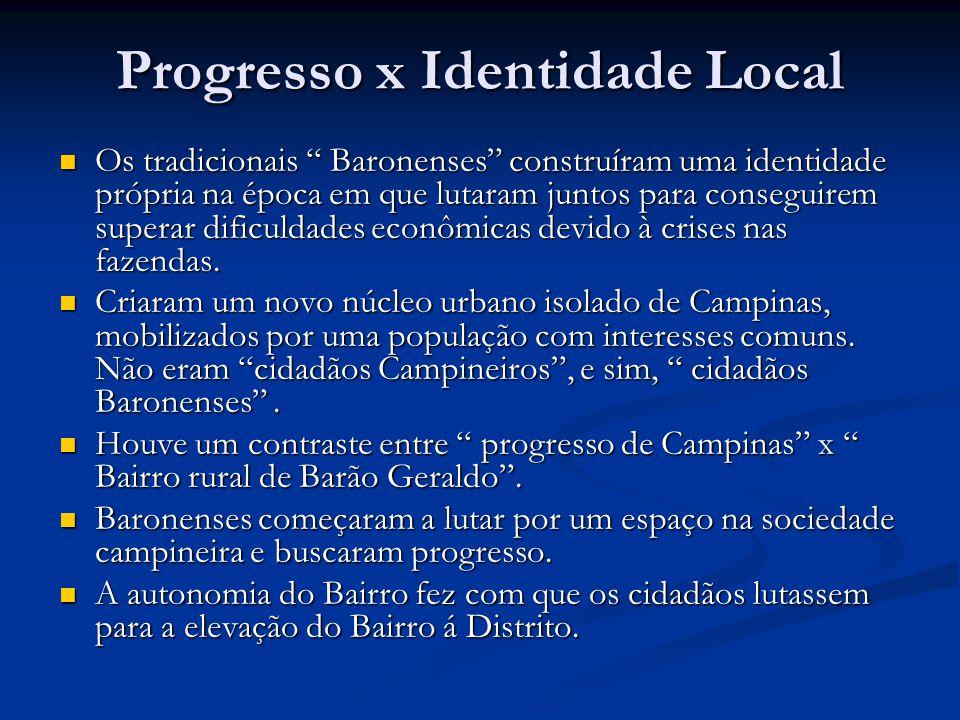 Progresso x Identidade Local Os tradicionais Baronenses construíram uma identidade própria na época em que lutaram juntos para conseguirem superar dificuldades econômicas devido à crises nas fazendas.