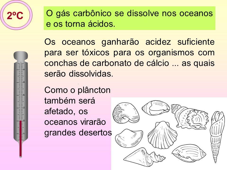 12/35 O gás carbônico se dissolve nos oceanos e os torna ácidos.. 2ºC2ºC Os oceanos ganharão acidez suficiente para ser tóxicos para os organismos com