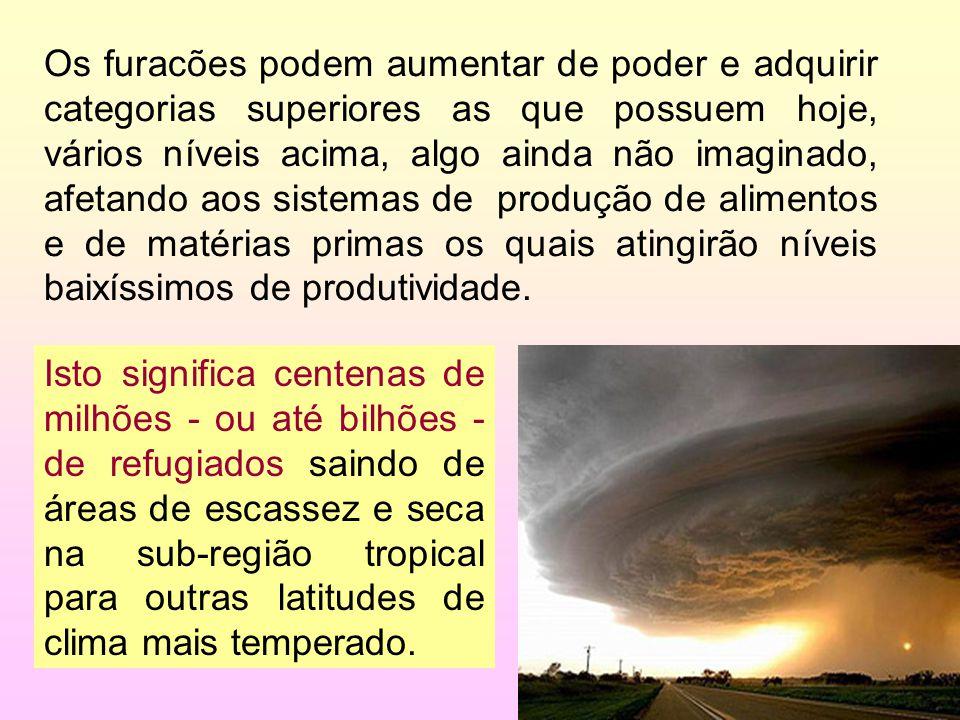 22/35 Os furacões podem aumentar de poder e adquirir categorias superiores as que possuem hoje, vários níveis acima, algo ainda não imaginado, afetand