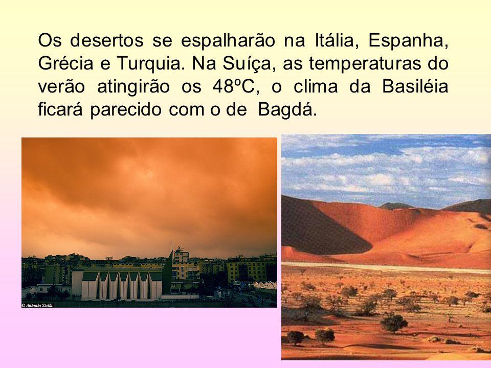 28/35 Os desertos se espalharão na Itália, Espanha, Grécia e Turquia. Na Suíça, as temperaturas do verão atingirão os 48ºC, o clima da Basiléia ficará