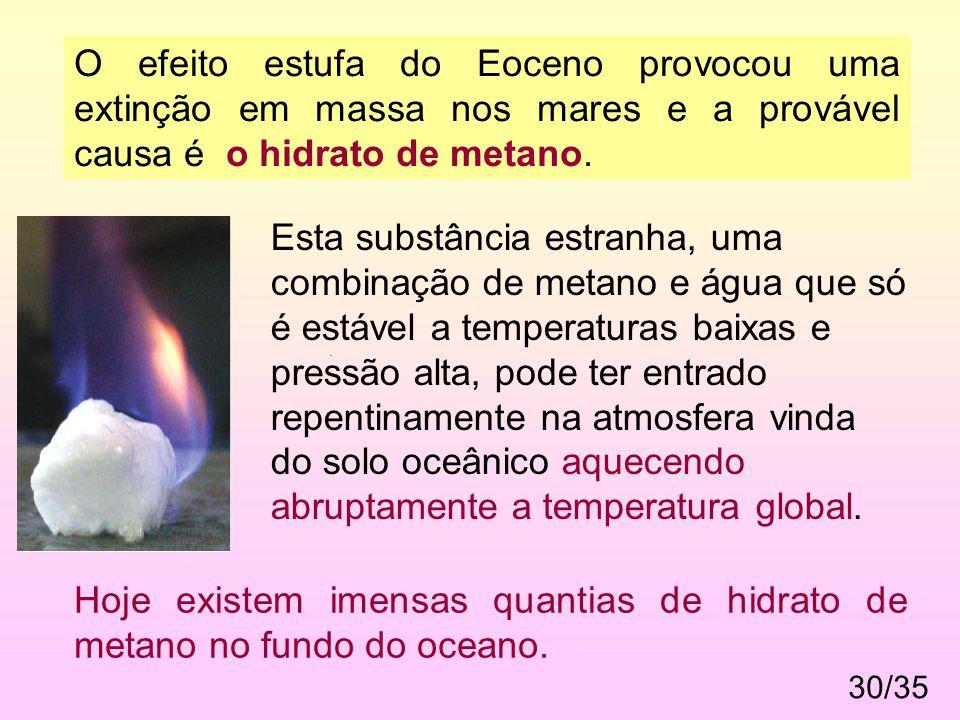 30/35. O efeito estufa do Eoceno provocou uma extinção em massa nos mares e a provável causa é o hidrato de metano. Esta substância estranha, uma comb