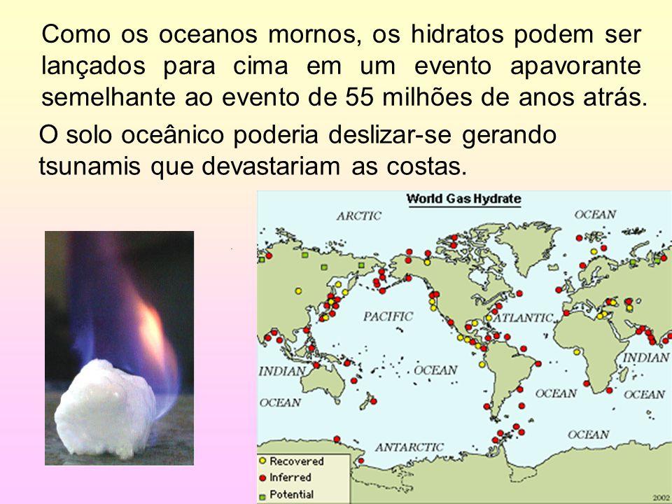 31/35 Como os oceanos mornos, os hidratos podem ser lançados para cima em um evento apavorante semelhante ao evento de 55 milhões de anos atrás.. O so