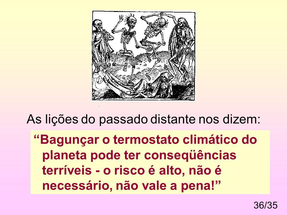 """36/35. As lições do passado distante nos dizem: """"Bagunçar o termostato climático do planeta pode ter conseqüências terríveis - o risco é alto, não é n"""