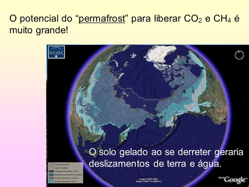 """9/35 O potencial do """"permafrost"""" para liberar CO 2 e CH 4 é muito grande! O solo gelado ao se derreter geraria deslizamentos de terra e água."""