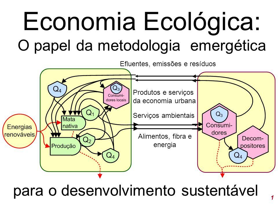 1 Economia Ecológica: O papel da metodologia emergética para o desenvolvimento sustentável Serviços ambientais Alimentos, fibra e energia Efluentes, emissões e resíduos Produtos e serviços da economia urbana