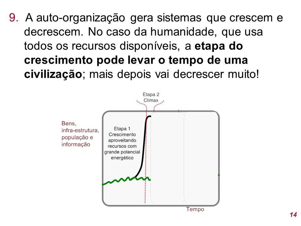 14 9.A auto-organização gera sistemas que crescem e decrescem.