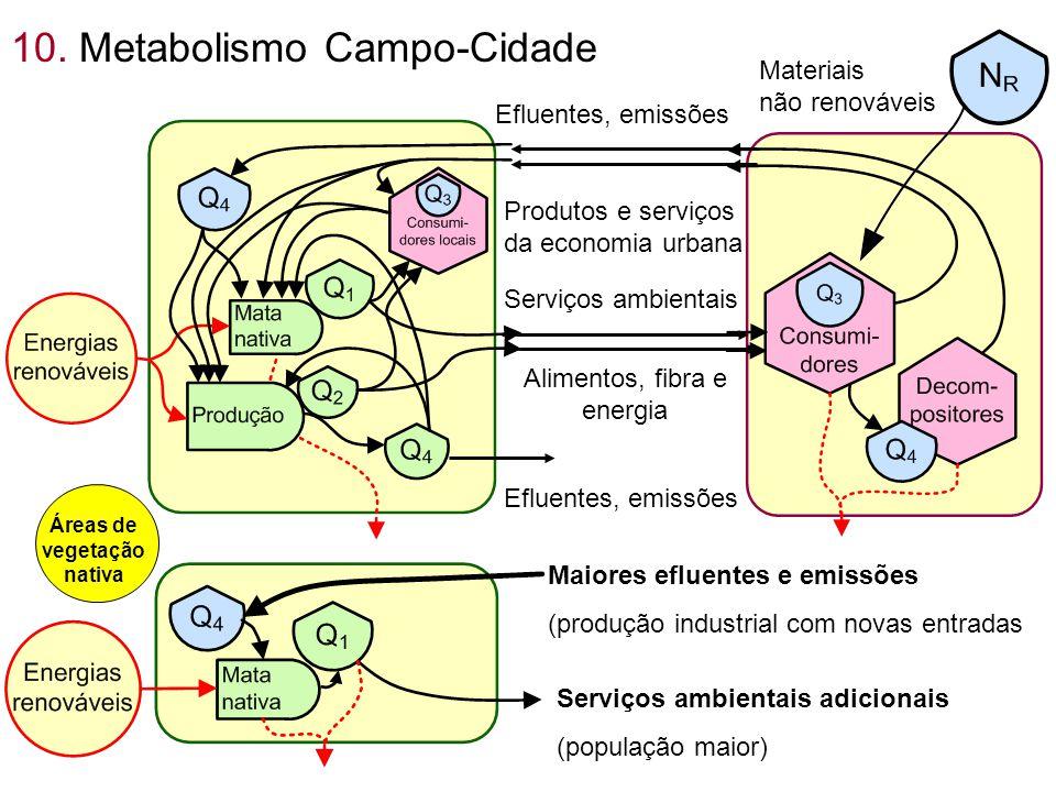 10. Metabolismo Campo-Cidade Serviços ambientais Alimentos, fibra e energia Efluentes, emissões Resíduos Produtos e serviços da economia urbana Materi