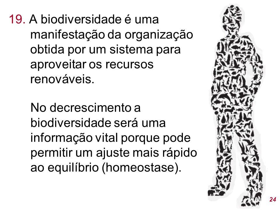 19. A biodiversidade é uma manifestação da organização obtida por um sistema para aproveitar os recursos renováveis. 24 No decrescimento a biodiversid