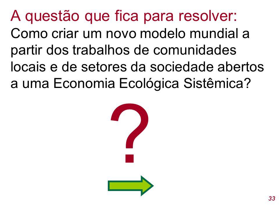 33 A questão que fica para resolver: Como criar um novo modelo mundial a partir dos trabalhos de comunidades locais e de setores da sociedade abertos a uma Economia Ecológica Sistêmica.
