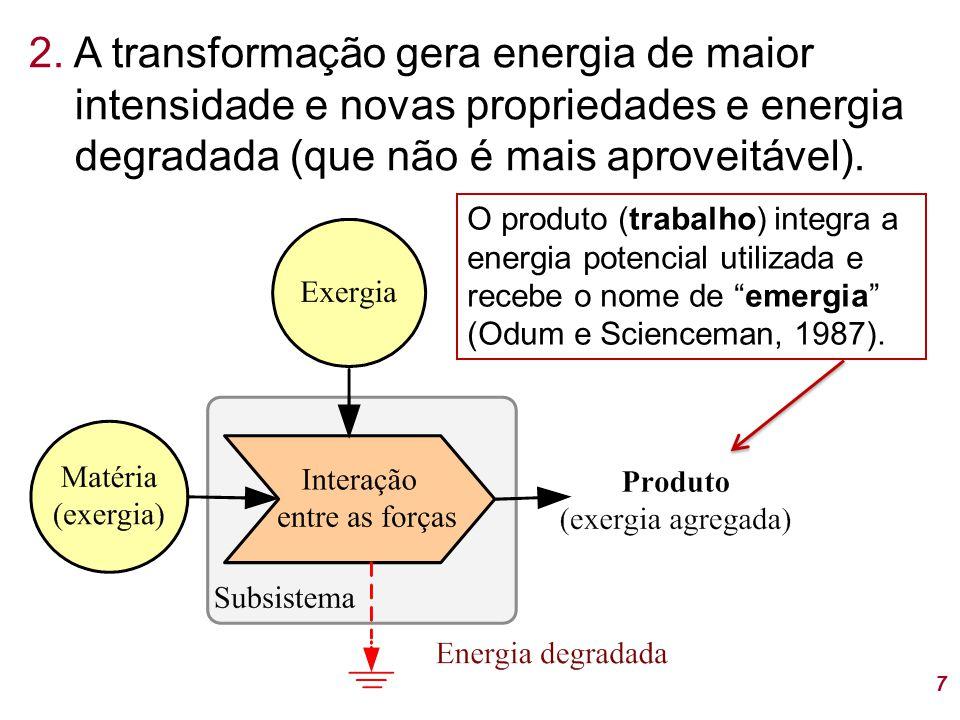 7 2. A transformação gera energia de maior intensidade e novas propriedades e energia degradada (que não é mais aproveitável). O produto (trabalho) in