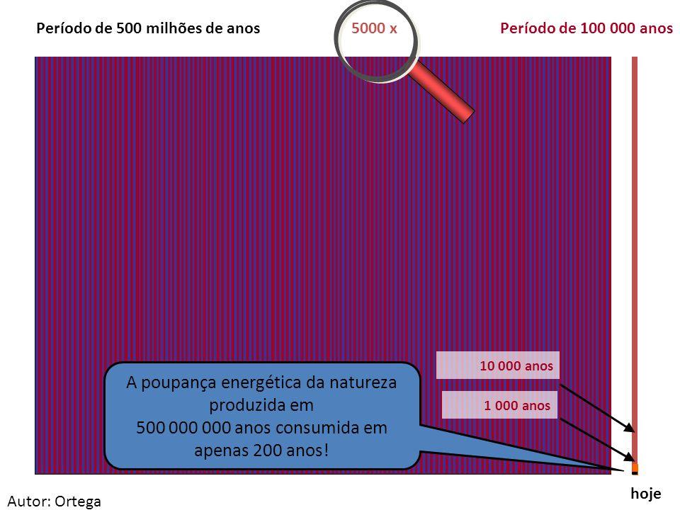 hoje Período de 500 milhões de anosPeríodo de 100 000 anos 10 000 anos 1 000 anos 5000 x A poupança energética da natureza produzida em 500 000 000 anos consumida em apenas 200 anos.