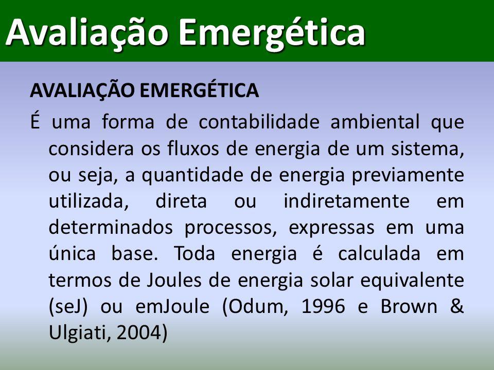 AVALIAÇÃO EMERGÉTICA É uma forma de contabilidade ambiental que considera os fluxos de energia de um sistema, ou seja, a quantidade de energia previamente utilizada, direta ou indiretamente em determinados processos, expressas em uma única base.