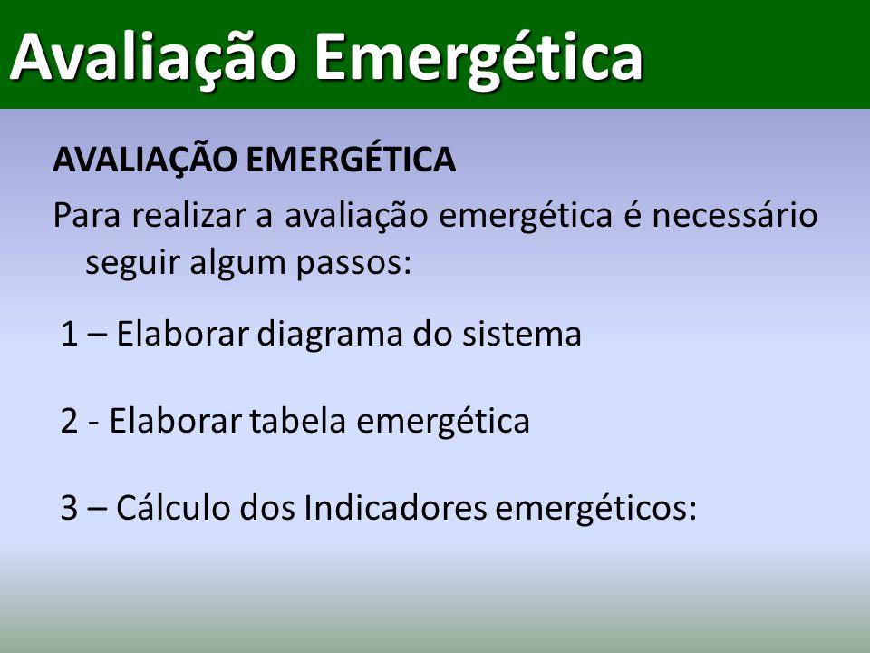 AVALIAÇÃO EMERGÉTICA Para realizar a avaliação emergética é necessário seguir algum passos: Avaliação Emergética 1 – Elaborar diagrama do sistema 3 – Cálculo dos Indicadores emergéticos: 2 - Elaborar tabela emergética