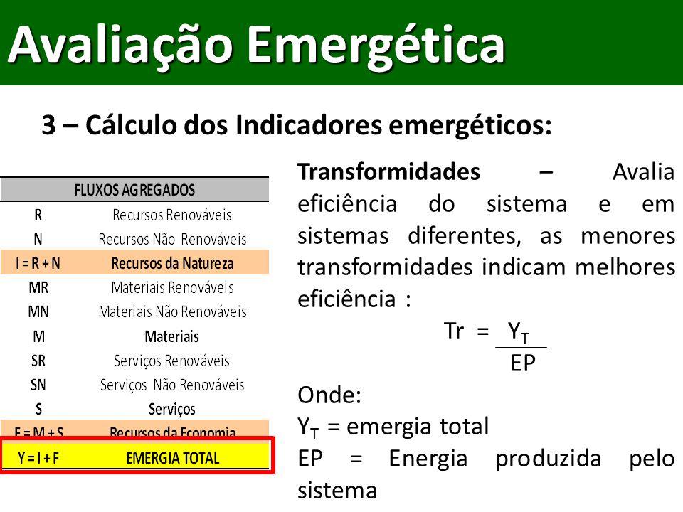 3 – Cálculo dos Indicadores emergéticos: Avaliação Emergética Transformidades – Avalia eficiência do sistema e em sistemas diferentes, as menores transformidades indicam melhores eficiência : Tr = Y T EP Onde: Y T = emergia total EP = Energia produzida pelo sistema