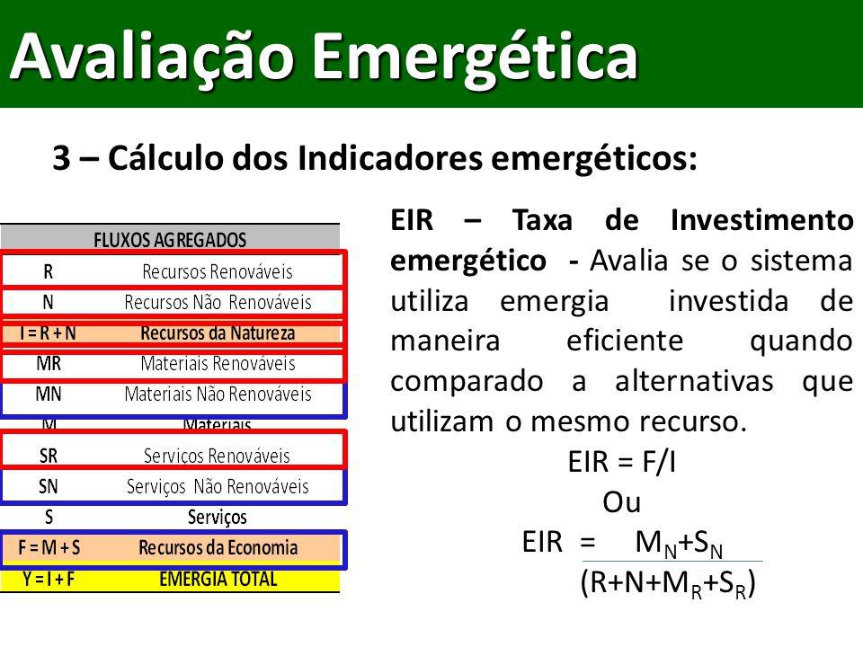 3 – Cálculo dos Indicadores emergéticos: Avaliação Emergética EIR – Taxa de Investimento emergético - Avalia se o sistema utiliza emergia investida de maneira eficiente quando comparado a alternativas que utilizam o mesmo recurso.