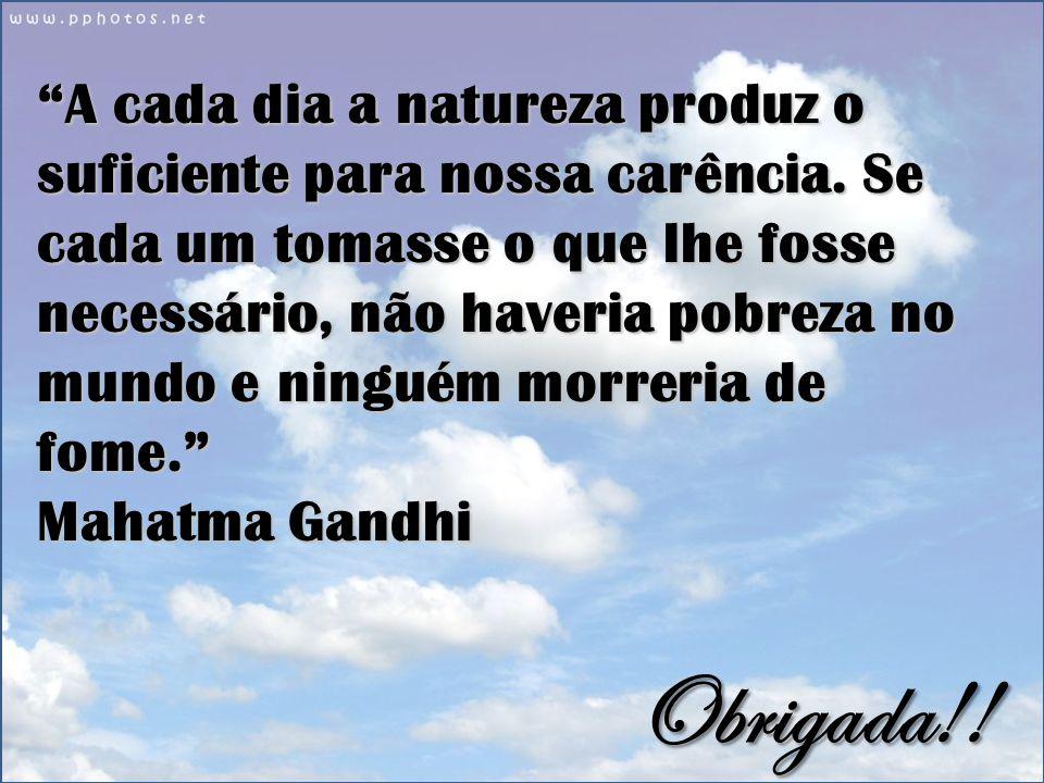 A cada dia a natureza produz o suficiente para nossa carência.