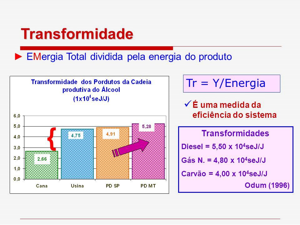 ► EMergia Total dividida pela energia do produto Tr = Y/Energia É uma medida da eficiência do sistema Transformidades Diesel = 5,50 x 10 4 seJ/J Gás N.