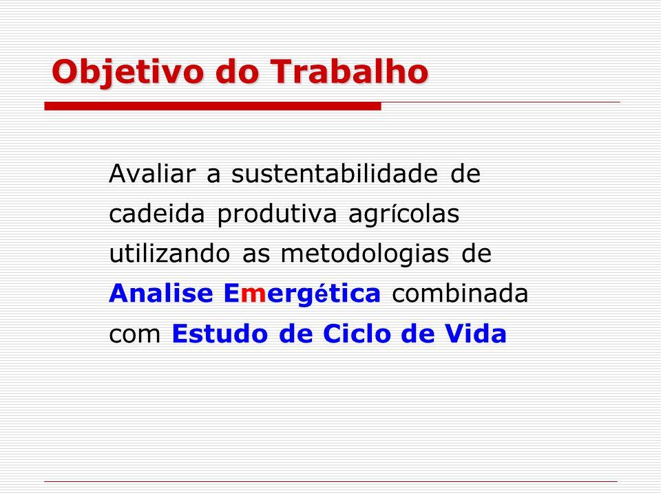Objetivo do Trabalho Avaliar a sustentabilidade de cadeida produtiva agr í colas utilizando as metodologias de Analise Emerg é tica combinada com Estudo de Ciclo de Vida