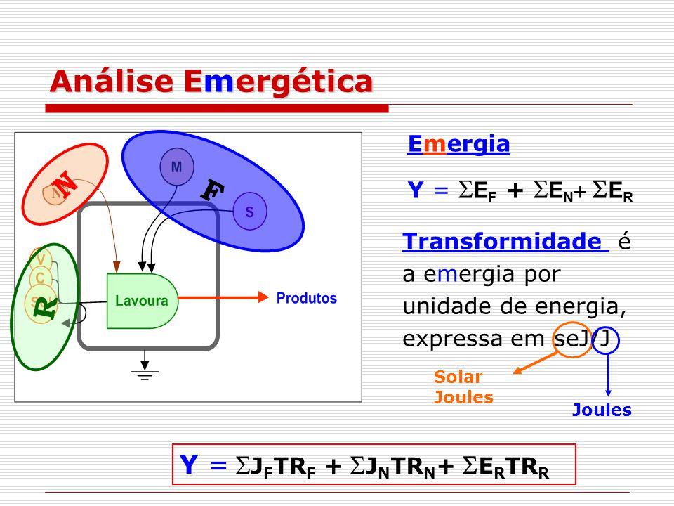 Análise Emergética F R N Emergia Y =  E F +  E N   E R Transformidade é a emergia por unidade de energia, expressa em seJ/J Solar Joules Joules Y =  J F TR F +  J N TR N +  E R TR R