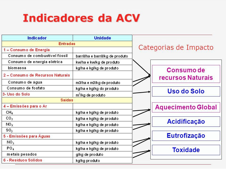 Categorias de Impacto Consumo de recursos Naturais Uso do Solo Aquecimento Global Acidificação Eutrofização Toxidade Indicadores da ACV
