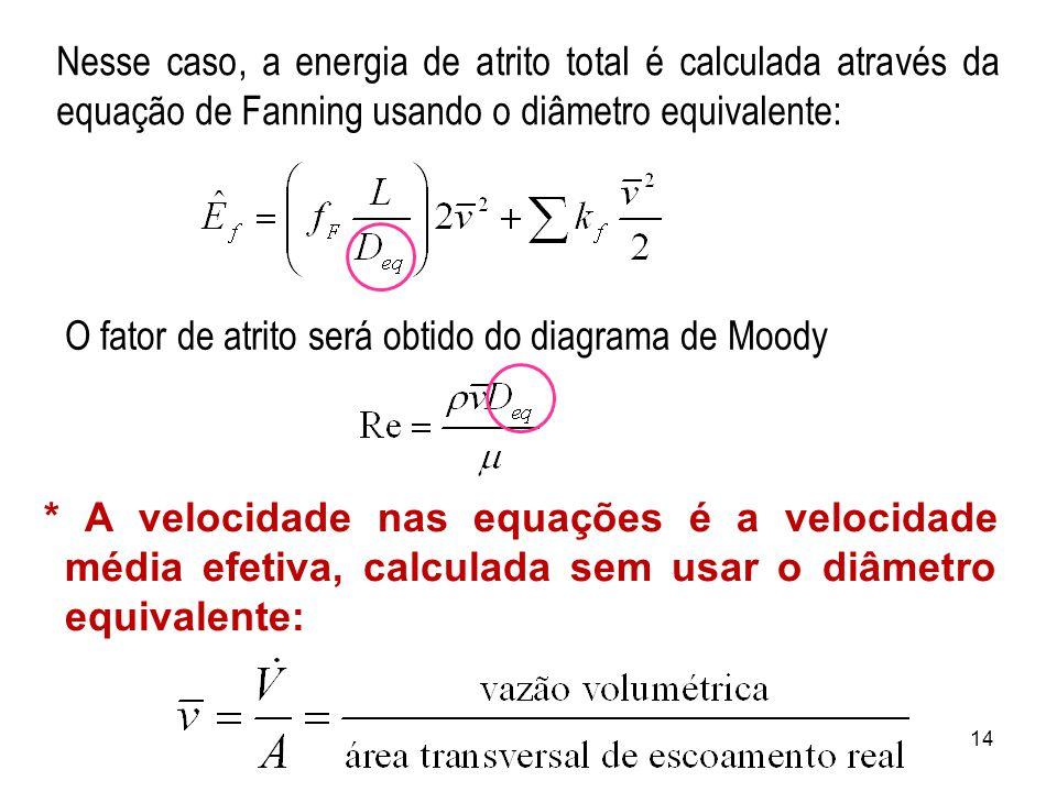 Nesse caso, a energia de atrito total é calculada através da equação de Fanning usando o diâmetro equivalente: * A velocidade nas equações é a velocidade média efetiva, calculada sem usar o diâmetro equivalente: O fator de atrito será obtido do diagrama de Moody 14