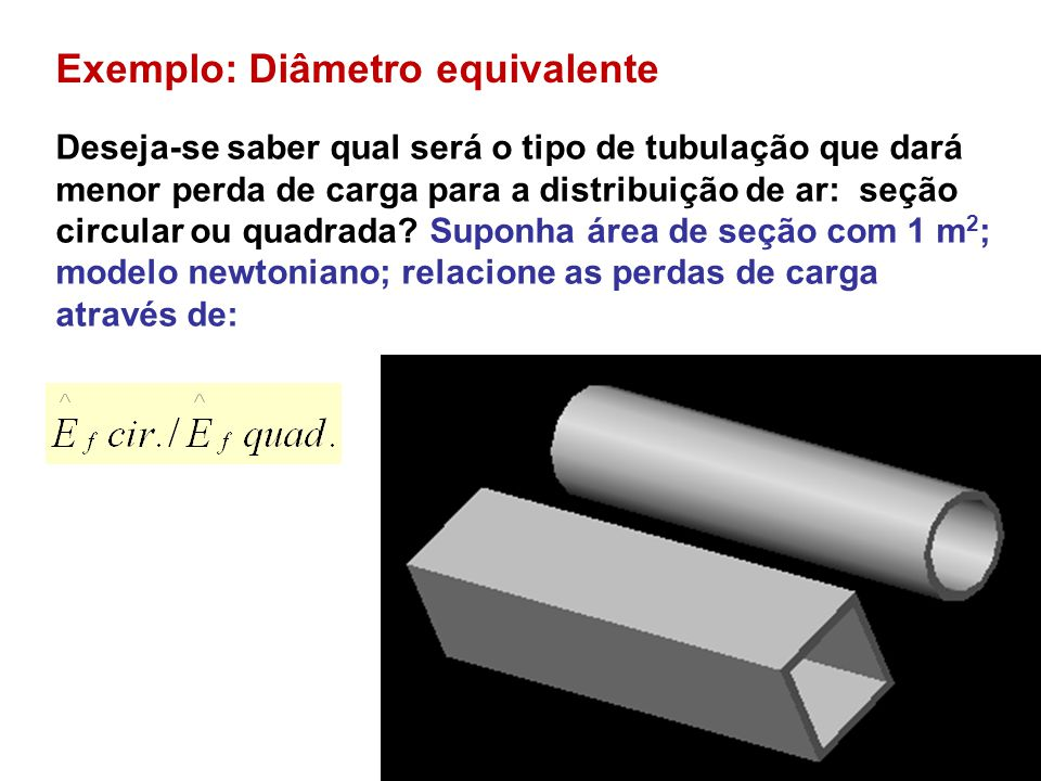 Exemplo: Diâmetro equivalente Deseja-se saber qual será o tipo de tubulação que dará menor perda de carga para a distribuição de ar: seção circular ou quadrada.