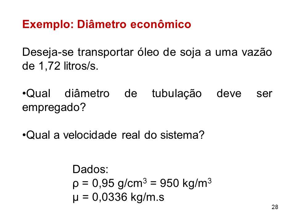 Exemplo: Diâmetro econômico Deseja-se transportar óleo de soja a uma vazão de 1,72 litros/s.