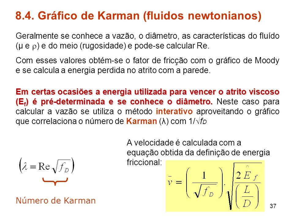 8.4. Gráfico de Karman (fluidos newtonianos) Geralmente se conhece a vazão, o diâmetro, as características do fluído (μ e  ) e do meio (rugosidade) e
