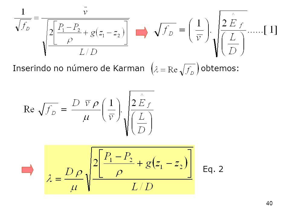 Inserindo no número de Karman obtemos: 40 Eq. 2