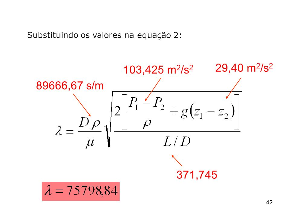 29,40 m 2 /s 2 103,425 m 2 /s 2 371,745 89666,67 s/m 42 Substituindo os valores na equação 2: