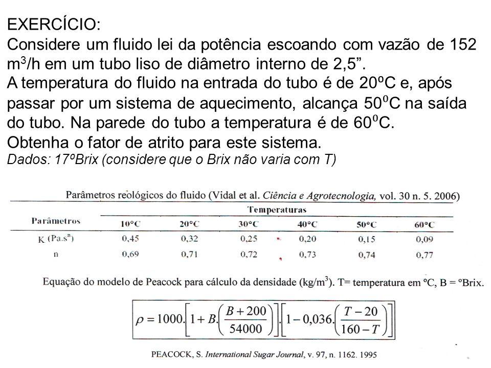 EXERCÍCIO: Considere um fluido lei da potência escoando com vazão de 152 m 3 /h em um tubo liso de diâmetro interno de 2,5 .