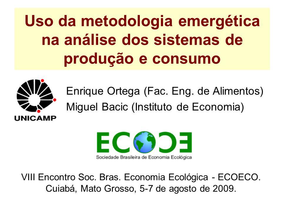 Uso da metodologia emergética na análise dos sistemas de produção e consumo Enrique Ortega (Fac. Eng. de Alimentos) Miguel Bacic (Instituto de Economi