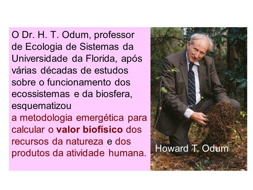 O Dr. H. T. Odum, professor de Ecologia de Sistemas da Universidade da Florida, após várias décadas de estudos sobre o funcionamento dos ecossistemas
