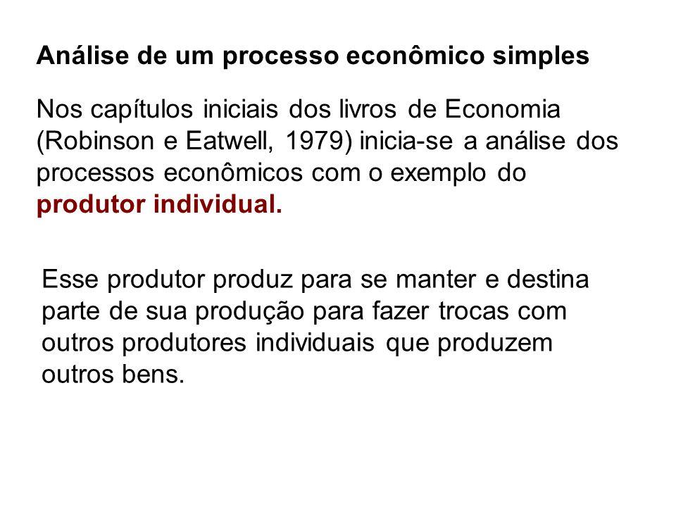 Análise de um processo econômico simples Nos capítulos iniciais dos livros de Economia (Robinson e Eatwell, 1979) inicia-se a análise dos processos ec