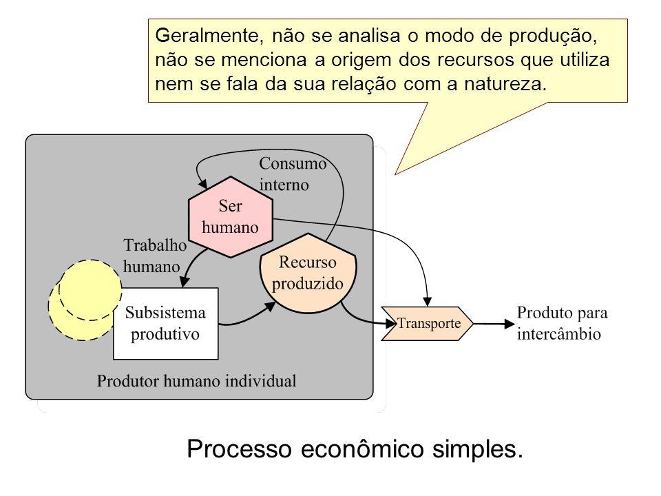 Processo econômico simples. Geralmente, não se analisa o modo de produção, não se menciona a origem dos recursos que utiliza nem se fala da sua relaçã
