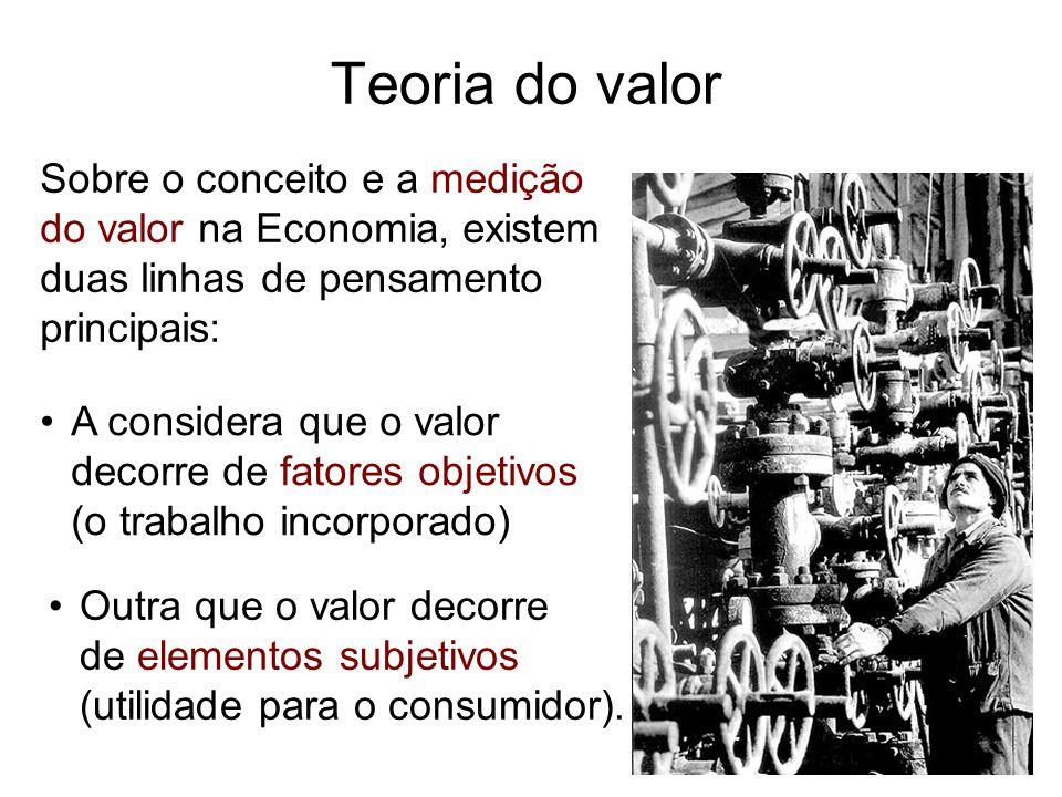 Sobre o conceito e a medição do valor na Economia, existem duas linhas de pensamento principais: Teoria do valor A considera que o valor decorre de fa